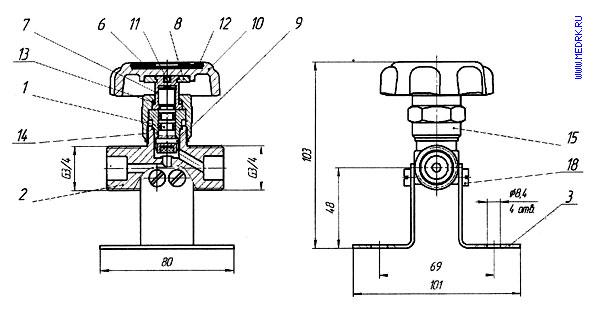 Схематическое изображение запорного клапана К-1409-250