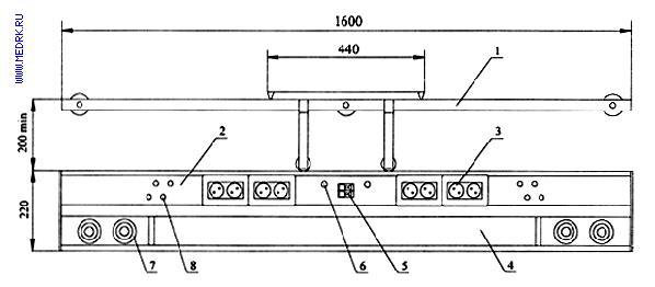 Схематическое изображение настенной реанимационной консоли КПМ-АМС-НР