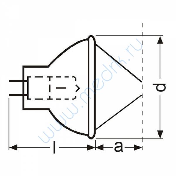 Лампа галогенная (галогеновая) Osram 64607 8V 50W GZ6,35  Вид 4