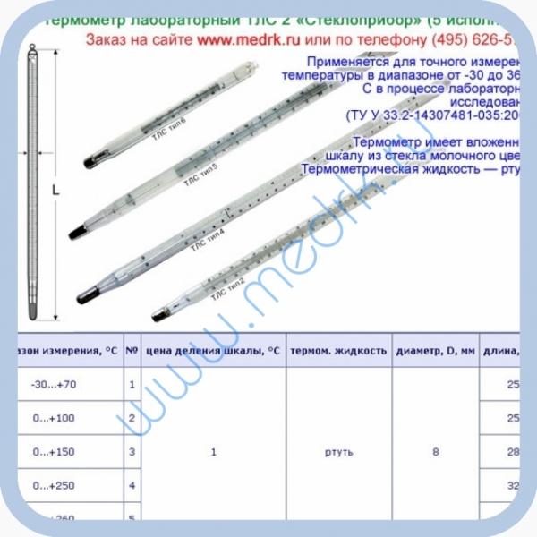 Термометры лабораторные ртутные ТЛС-2  Вид 1