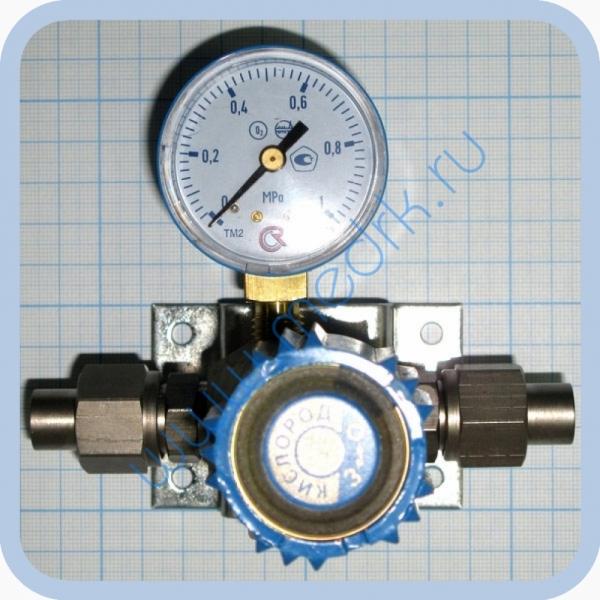 Вентиль магистральный с манометром ВМ-06 (клапан запорный К-1104-16) для кислорода и др. газов  Вид 1