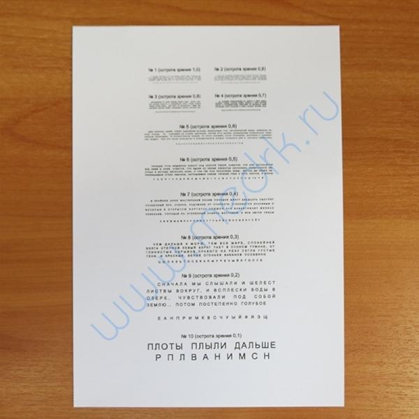 Таблицы для определения зрения  Вид 6