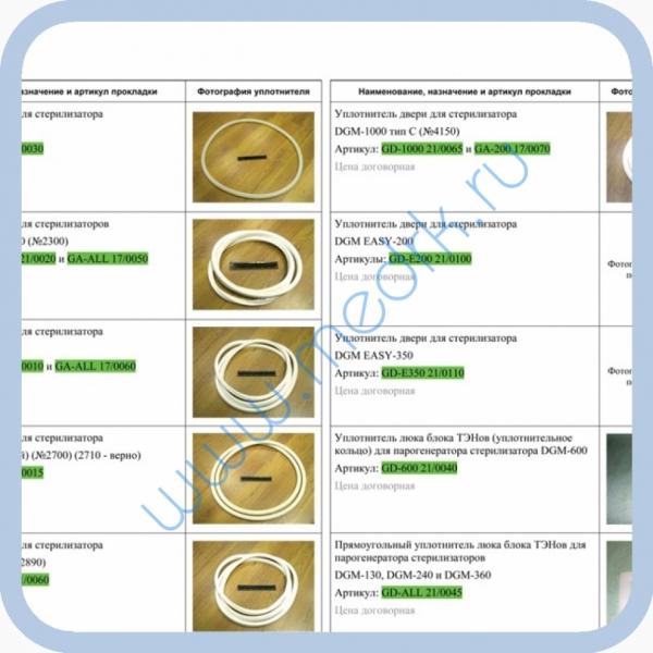 Уплотнители и прокладки для ремонта стерилизаторов DGM (КНР)