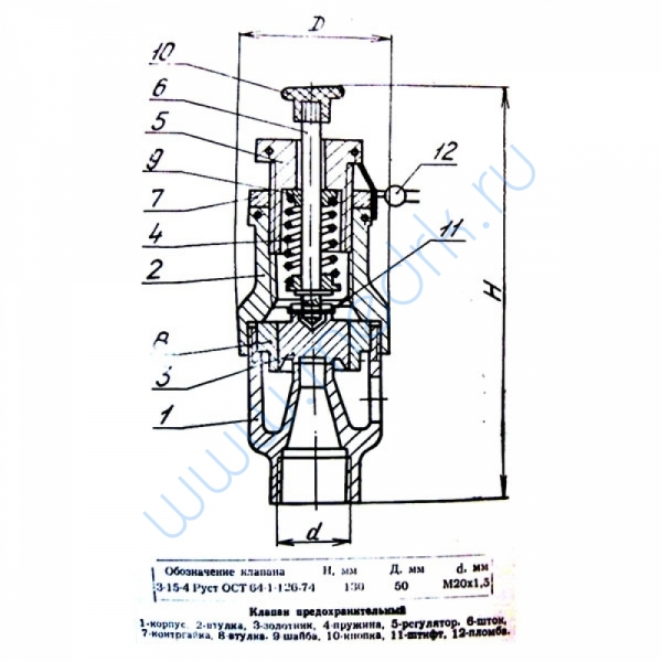 Клапан предохранительный ЦТ 266.000  Вид 1