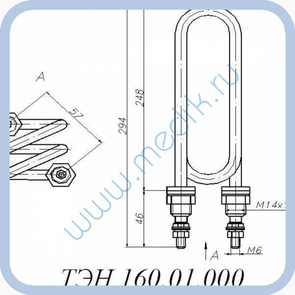 ТЭН 160.01.000 (4кВт, 220В, н/сталь, вода)  Вид 1