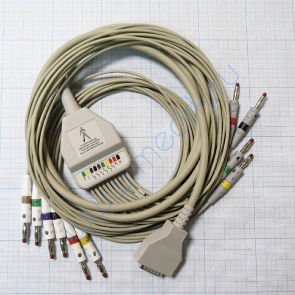 ЭКГ кабель пациента (отведения) Fiab F6746R без скоб, с 4-мм штекерами  Вид 1