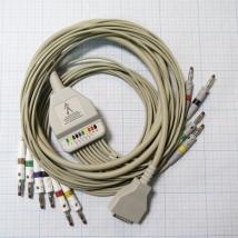 ЭКГ кабель пациента (отведения) Fiab F6746R без скоб, с 4-мм штекерами