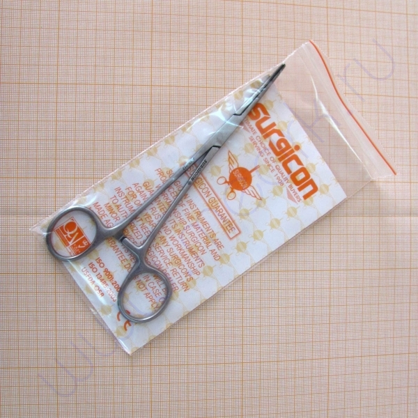Зажим кровоостанавливающий зубчатый, изогнутый №1, 160мм J-17-052 (Surgicon)