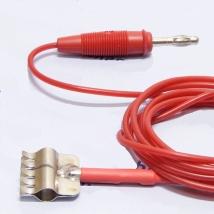 Кабель 1-контактный с зажимом силиконовый красный для аппаратов электротерапии