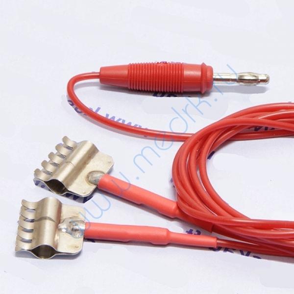Кабель 2-контактный с двумя зажимами силиконовый красный для аппаратов электротерапии  Вид 1