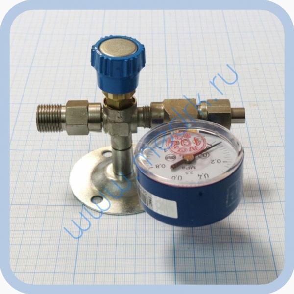 Вентиль медицинский с манометром на вход (клапан запорный К-1101-16) для кислорода, закиси азота   Вид 2
