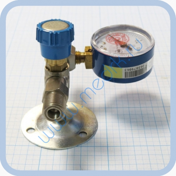 Вентиль медицинский с манометром на вход (клапан запорный К-1101-16) для кислорода, закиси азота   Вид 3