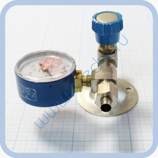 Вентиль медицинский с манометром на вход (клапан запорный К-1101-16) для кислорода, закиси азота   Вид 5