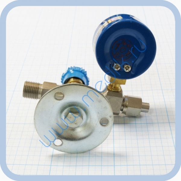 Вентиль медицинский с манометром на вход (клапан запорный К-1101-16) для кислорода, закиси азота   Вид 8