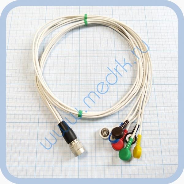 Кабель для подключения одноразовых ЭКГ-электродов на 3 отведения 7 электродов для аппарата Кардиотехника  Вид 1