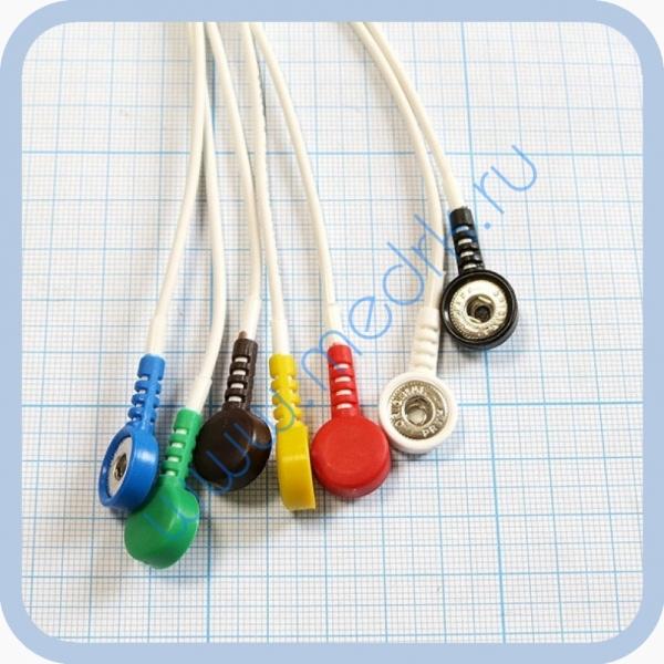 Кабель для подключения одноразовых ЭКГ-электродов на 3 отведения 7 электродов для аппарата Кардиотехника  Вид 2