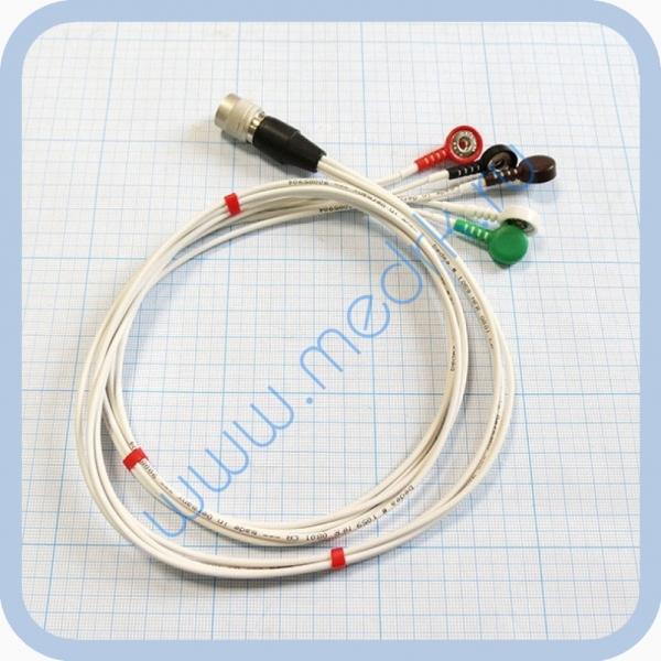 Кабель для подключения одноразовых ЭКГ-электродов на 3 отведения 5 электродов  Вид 1