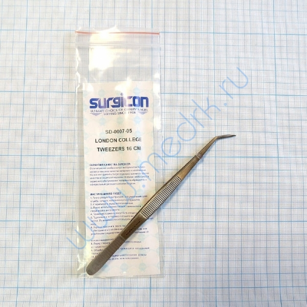 Пинцет зубной изогнутый SD-0007-05 160 мм (Surgicon)  Вид 1