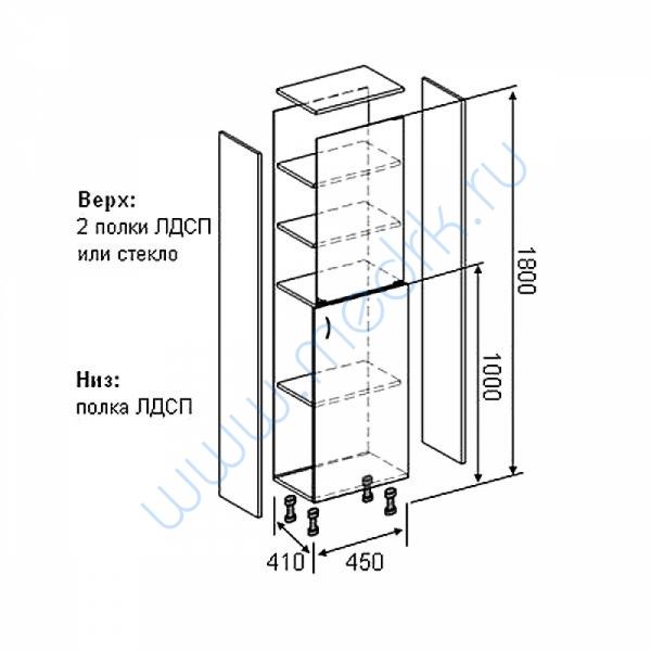 Шкаф медицинский М202 одностворчатый с дверцей  Вид 5