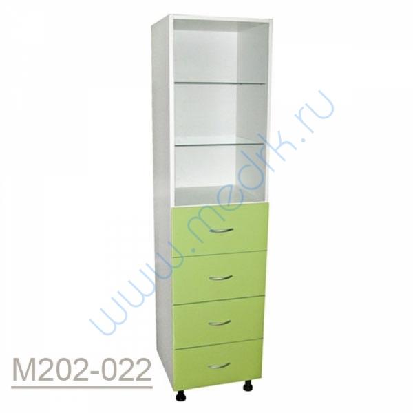 Шкаф одностворчатый медицинский М202-021 с выдвижными ящиками  Вид 1