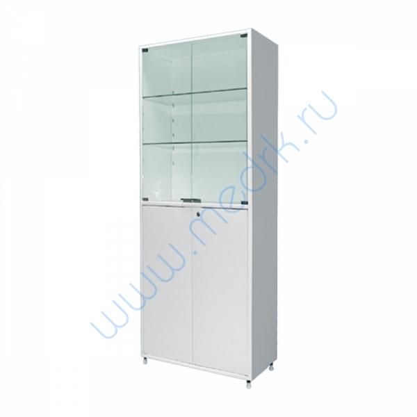Шкаф двустворчатый ШМ-02-МСК (800х400х1750) двухсекционный, стекло/металл  Вид 1