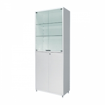 Шкаф двустворчатый ШМ-02-МСК (800х400х1750) двухсекционный, стекло/металл