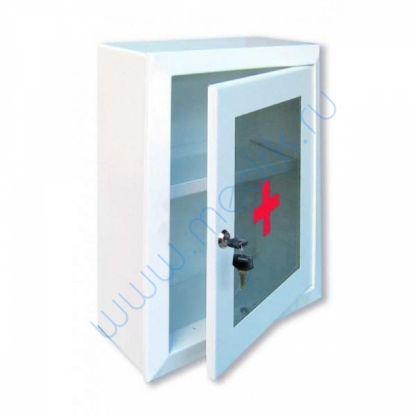 Аптечка 2 медицинская навесная, со стеклом, с замком и ключом 330х280х140