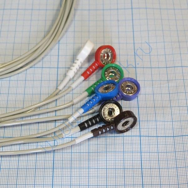Кабель пациента на 3 отведения 7 электродов для ЭКГ и АД