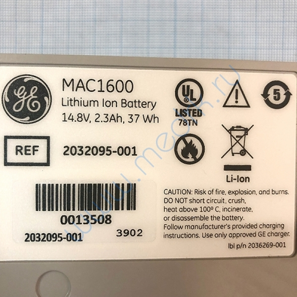 Аккумулятор для электрокардиографа MAC 1600 2035701-001  Вид 6