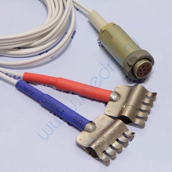Кабель силиконовый сдвоенный, разъем для подсоединения к аппарату - РС7TB, разъемы для подсоединения к электродам - 2 пружинных зажима (красный+синий)  Вид 1